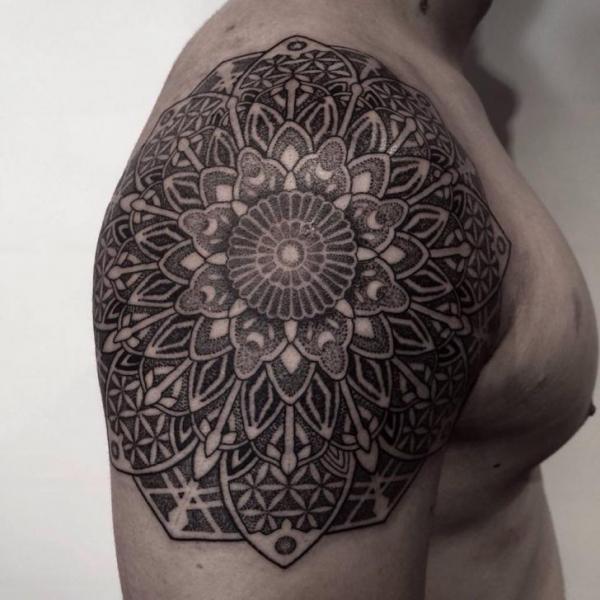 Shoulder Dotwork Geometric Tattoo by Chopstick Tattoo