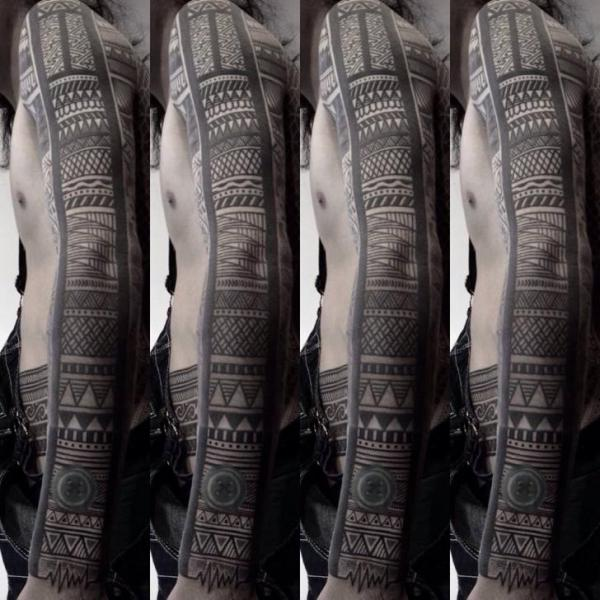 Tribal Sleeve Tattoo by Chopstick Tattoo
