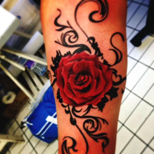Arm Realistic Rose Tattoo by Blancolo Tattoo