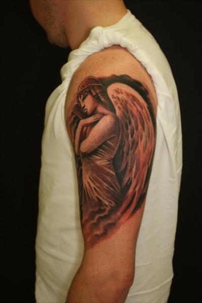 Schulter Fantasie Engel Tattoo von Blancolo Tattoo