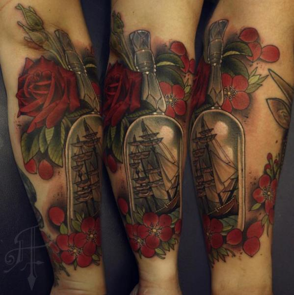 Arm Flower Galleon Ship Bottle Tattoo by Antony Tattoo