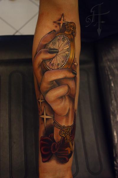 Arm Clock Hand Tattoo by Antony Tattoo