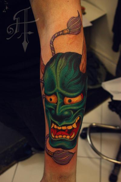 Arm Japanese Mask Tattoo by Antony Tattoo