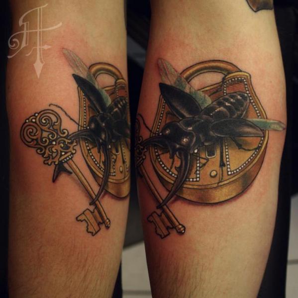 Arm Scrabble Key Lock Tattoo by Antony Tattoo
