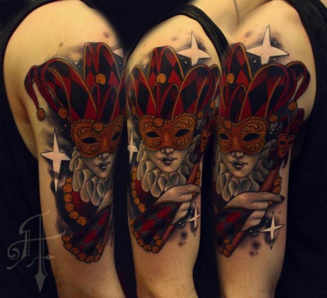 Shoulder Arm Mask Joker Tattoo by Antony Tattoo