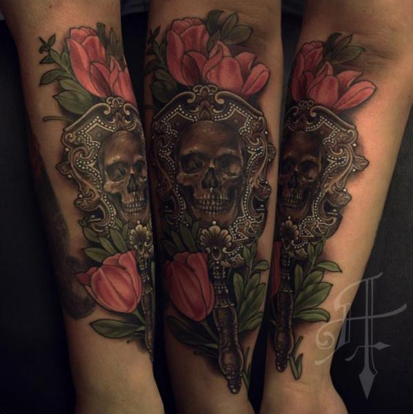 Arm Skull Mirror Tattoo by Antony Tattoo