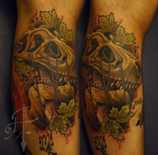 Arm Skull Rope Tattoo by Antony Tattoo