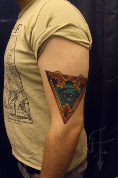 Arm Eye God Triangle Tattoo by Antony Tattoo