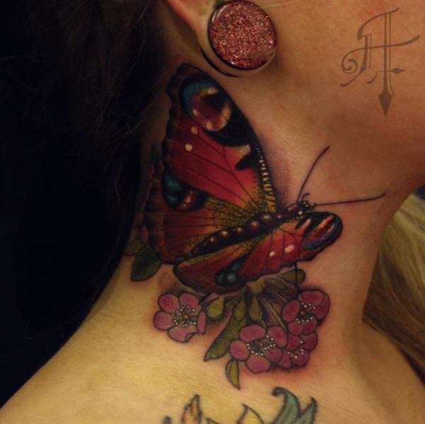 5a90befc5 Realistic Butterfly Neck Tattoo by Antony Tattoo