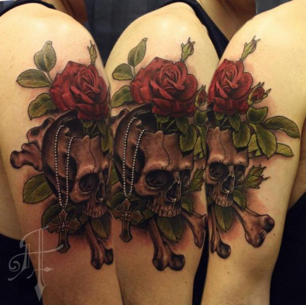 Shoulder Flower Skull Tattoo by Antony Tattoo
