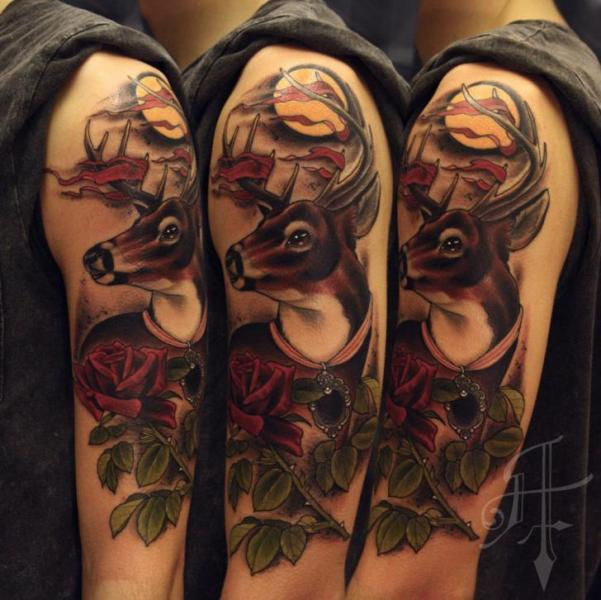 Shoulder Realistic Rose Deer Tattoo by Antony Tattoo