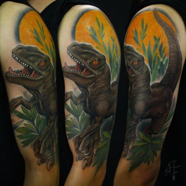 Shoulder Realistic Dinosaur Tattoo by Antony Tattoo