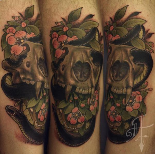Arm Snake Skull Tattoo by Antony Tattoo