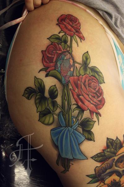 Flower Thigh Diamond Tattoo by Antony Tattoo