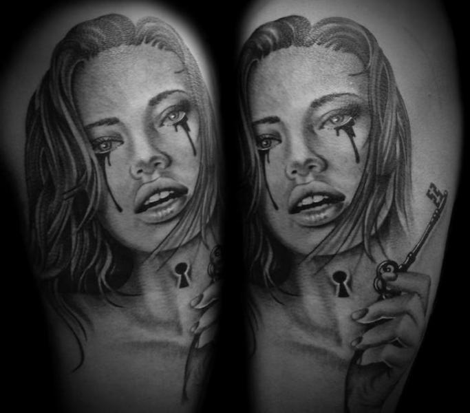 Arm Realistic Women Key Tattoo by Westfall Tattoo