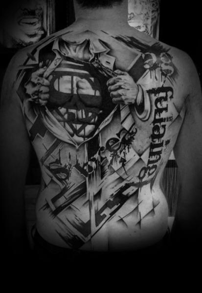 Fantasy Lettering Back Superman Fonts Tattoo by Westfall Tattoo