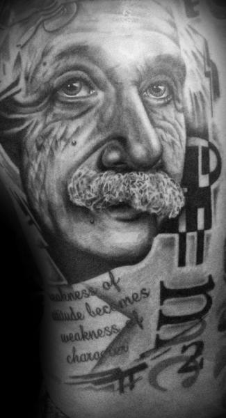 Schulter Leuchtturm Einstein Tattoo von Westfall Tattoo