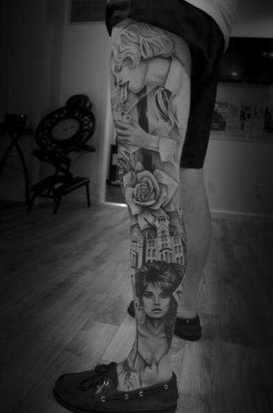 Realistic Leg Flower Women Tattoo by Westfall Tattoo