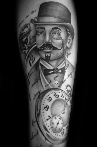 Arm Clock Hat Tattoo by Westfall Tattoo