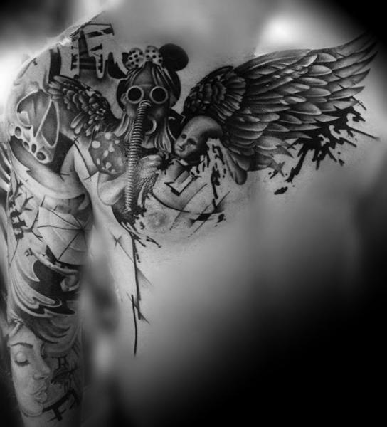 Shoulder Chest Gas Mask Wings Tattoo by Westfall Tattoo