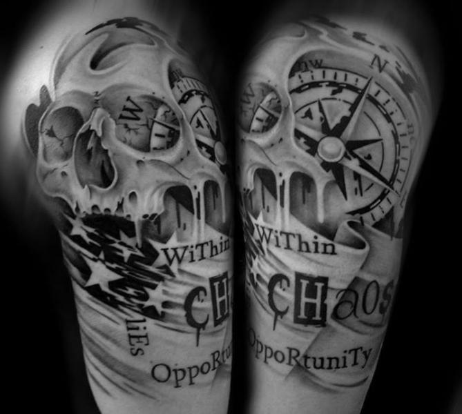 schulter leuchtturm totenkopf kompass tattoo von westfall tattoo. Black Bedroom Furniture Sets. Home Design Ideas