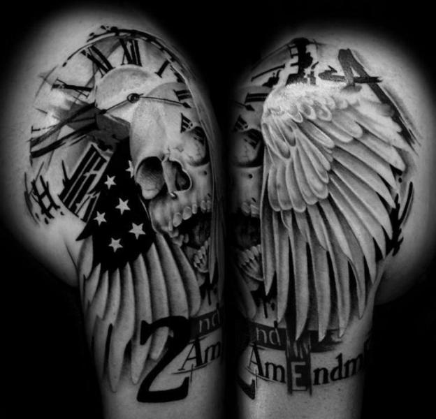 Shoulder Lettering Skull Wings Tattoo by Westfall Tattoo