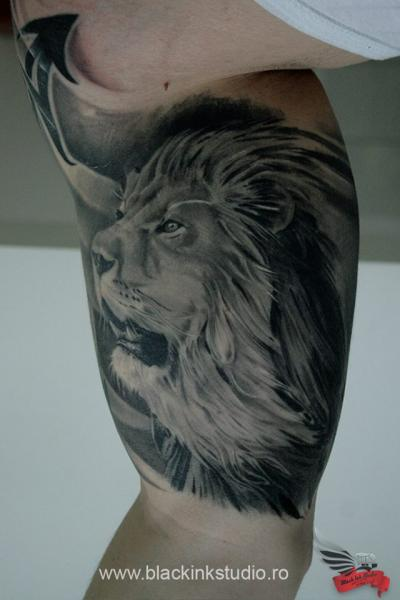 Arm Realistic Lion Tattoo by Black Ink Studio