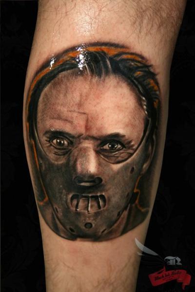 Arm Portrait Hannibal Movie Tattoo by Black Ink Studio