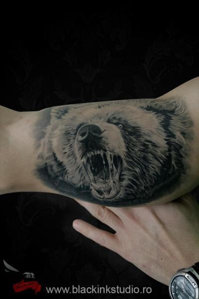 Tatuaje Brazo Realista Oso Por Black Ink Studio