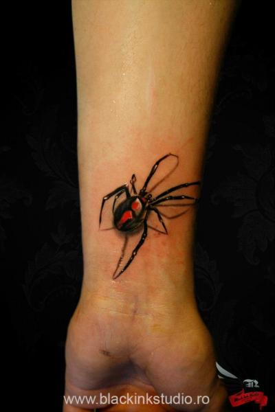 Arm Realistic Spider Tattoo by Black Ink Studio