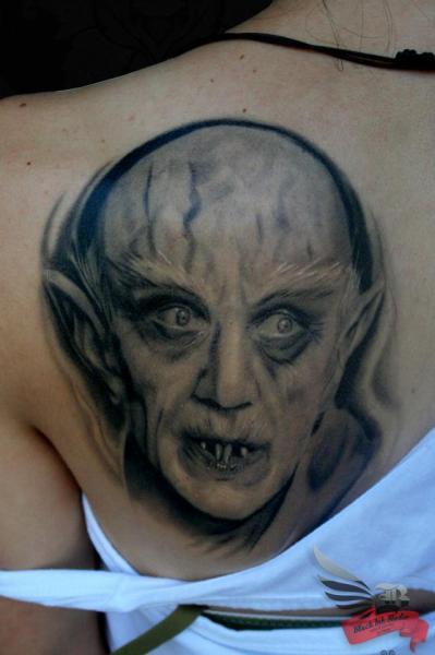 Fantasy Back Dracula Monster Tattoo by Black Ink Studio