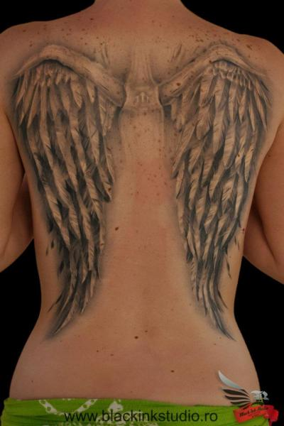 Back Wings Tattoo By Black Ink Studio