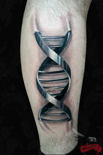 Calf 3d DNA Tattoo by Black Ink Studio