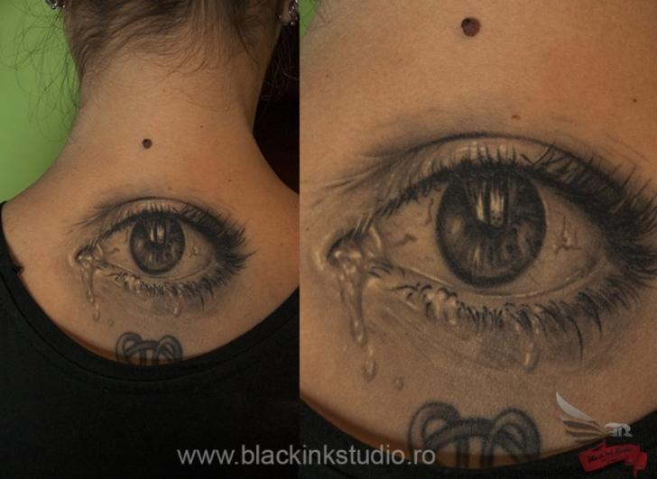 Realistic Eye Neck Tattoo by Black Ink Studio