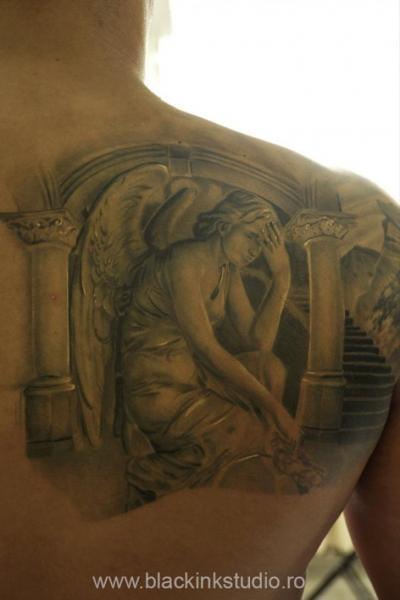 Shoulder Angel Tattoo by Black Ink Studio