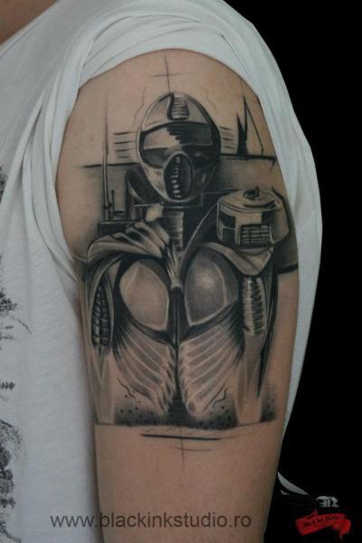 Shoulder Fantasy Robot Tattoo by Black Ink Studio