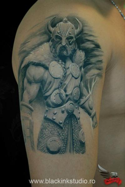 Shoulder Realistic Warrior Tattoo by Black Ink Studio