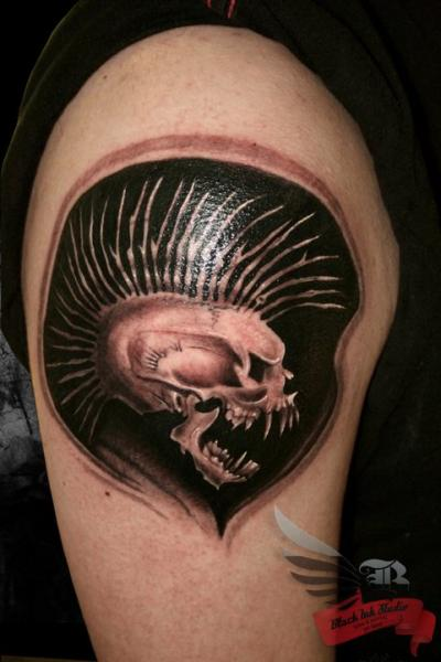 Shoulder Skull Tattoo by Black Ink Studio