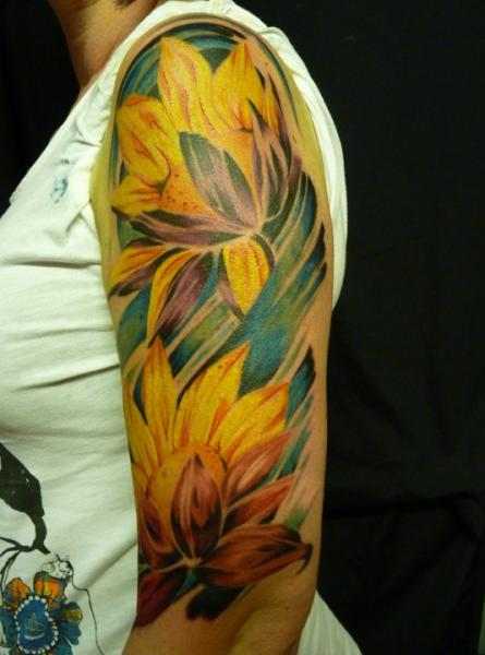 Shoulder Arm Realistic Flower Tattoo by Inky Joe