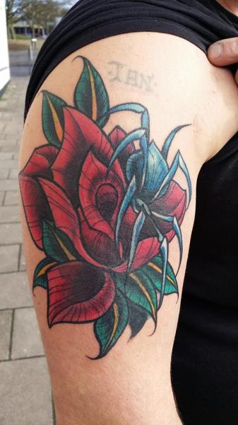 Shoulder New School Flower Spider Tattoo by Inky Joe