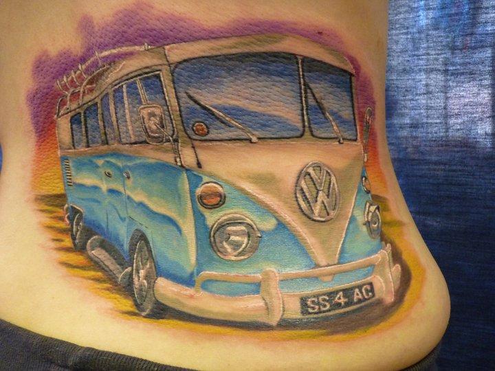 Side Volkswagen Van Tattoo by Inky Joe