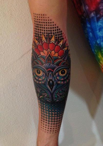 Arm Abstract Owl Tattoo by Corey Divine