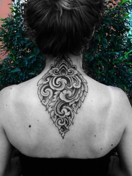 Back Neck Geometric Tattoo by Corey Divine