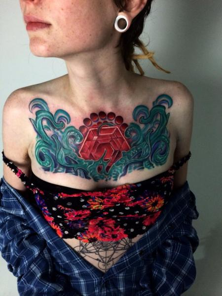 Breast Diamond Abstract Tattoo by Corey Divine