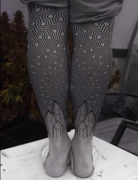 Calf Dotwork Geometric Tattoo by Corey Divine