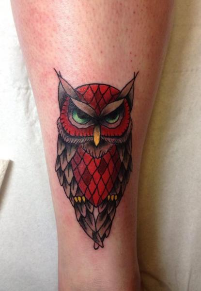 Arm New School Owl Tattoo by Marked For Life