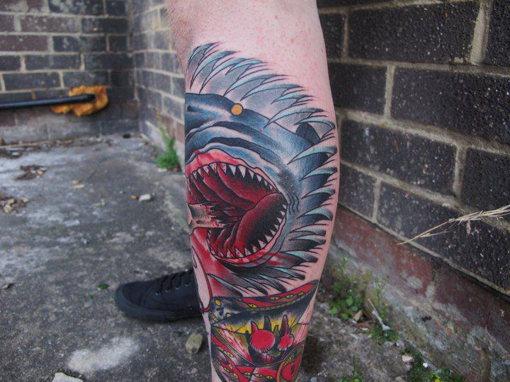 Calf Old School Shark Tattoo by Marked For Life