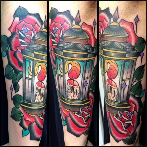 Old School Flower Lamp Tattoo by Marked For Life