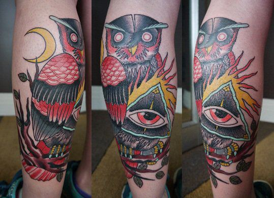 Old School Eye Owl Tattoo By Marked For Life