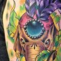 Schulter New School Feder Elefant tattoo von Marked For Life